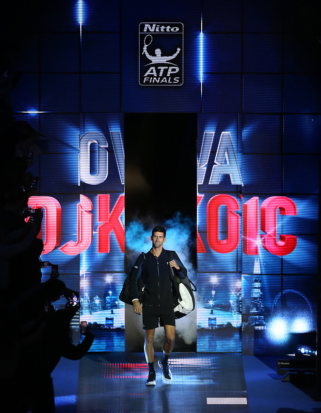 Novak Djokovic of Serbia enters the court prior to his singles round robin match against John Isner of The United States<br /> <br /> Photographer Rob Newell/CameraSport<br /> <br /> International Tennis - Nitto ATP World Tour Finals Day 2 - O2 Arena - London - Sunday 12th November 2018<br /> <br /> World Copyright © 2018 CameraSport. All rights reserved. 43 Linden Ave. Countesthorpe. Leicester. England. LE8 5PG - Tel: +44 (0) 116 277 4147 - admin@camerasport.com - www.camerasport.com