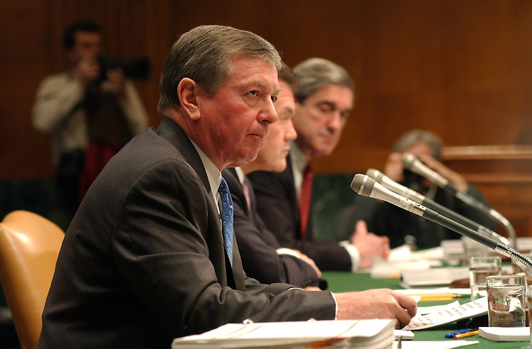 "Terrorism22_030403 --  Attorney General John Ashcroft; Homeland Security Secretary Tom Ridge and Robert Mueller, director, FBI during the Senate Judiciary Committee, Terrorism Protection Full committee hearing on ""The War Against Terrorism."