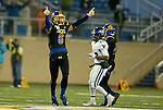 BROOKINGS, SD - DECEMBER 3:  Makiah Slade #6 from South Dakota State celebrates a fourth down turnover to seal their 10-7 win over Villanova during their second round playoff game Saturday afternoon at Dana J. Dykhouse Stadium in Brookings, SD. (Photo by Dave Eggen/Inertia)