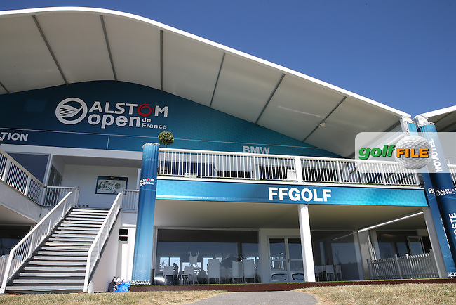 View of the FFGolf grandstand during the preview days of the 2015 Alstom Open de France, played at Le Golf National, Saint-Quentin-En-Yvelines, Paris, France. /30/06/2015/. Picture: Golffile | David Lloyd<br /> <br /> All photos usage must carry mandatory copyright credit (&copy; Golffile | David Lloyd)