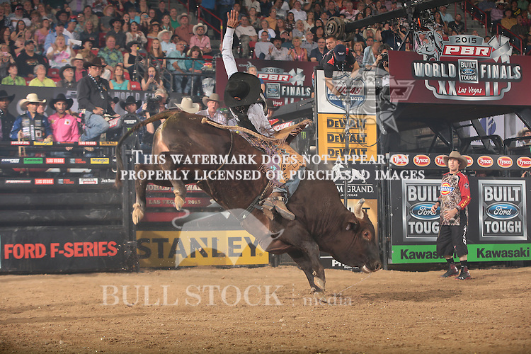 Ben Jones rides Ramblin Verl Ranch's Handsome Jeff for 89.5 during the fourth round of the World Finals Built Ford Tough Series PBR. Photo by Andy Watson
