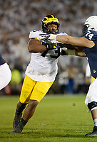 STATE COLLEGE, PA - OCTOBER 21:  Michigan DT Maurice Mo Hurst (73) rushes the quarterback. The Penn State Nittany Lions defeated the Michigan Wolverines 42-13 on October 21, 2017 at Beaver Stadium in State College, PA. (Photo by Randy Litzinger/Icon Sportswire)