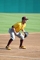 Jordan Aboites (23) of the Arizona State Sun Devils in the field at third base during a game against the Long Beach State Dirtbags at Blair Field on February 27, 2016 in Long Beach, California. Long Beach State defeated Arizona State, 5-2. (Larry Goren/Four Seam Images)