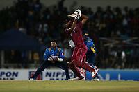 February 26th 2020,the Mahinda Rajapaksha International Stadium, Hambantota, Sri Lanka; One Day International cricket, Sri Lanka versus West Indies; Roston Chase plays a shot to the off side