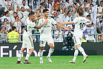 Real Madrid Dani Ceballos, Marco Asensio and Luka Modric celebraitng a goal during La Liga match between Real Madrid and RCD Espanyol at Santiago Bernabeu Stadium in Madrid, Spain. September 22, 2018. (ALTERPHOTOS/Borja B.Hojas)