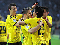 Fussball 1. Bundesliga :  Saison   2010/2011   32. Spieltag  21.04.2012 Borussia Dortmund - Borussia Moenchengladbach Jubel nach dem Tor zum 2:0, Ivan Perisic, Jakub  KUBA Blaszczykowski , Shinji Kagawa (v. li., Borussia Dortmund)