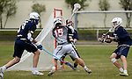 GER - Hannover, Germany, May 30: During the Men Lacrosse Playoffs 2015 match between HLC Rot-Weiss Muenchen (blue) and KKHT Schwarz-Weiss Koeln (weiss) on May 30, 2015 at Deutscher Hockey-Club Hannover e.V. in Hannover, Germany. Final score 5:6. (Photo by Dirk Markgraf / www.265-images.com) *** Local caption *** Benedikt Fohrmann #55 of HLC Rot-Weiss Muenchen, Marc Brandenburger #15 of KKHT Schwarz-Weiss Koeln, Philipp Maas #32 of HLC Rot-Weiss Muenchen