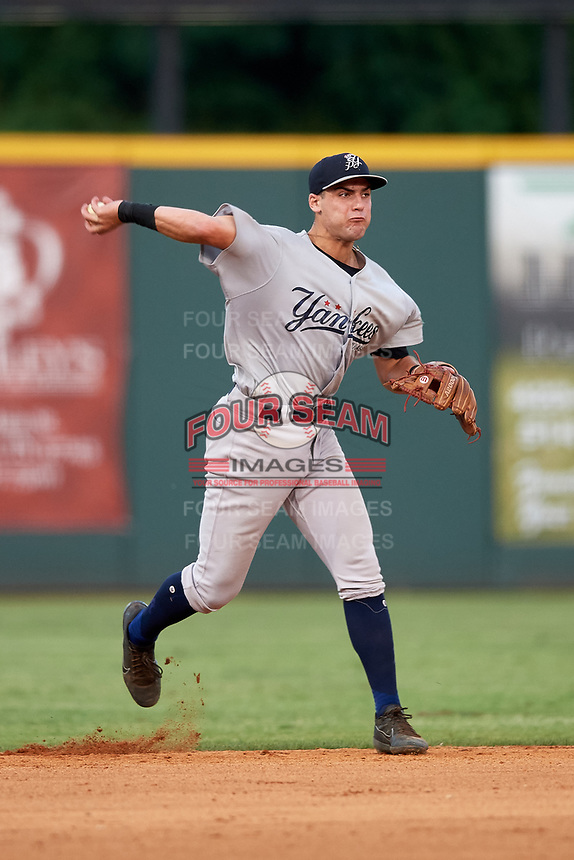 Pulaski Yankees shortstop Max Burt (17) throws to first base during a game against the Greeneville Reds on July 27, 2018 at Pioneer Park in Tusculum, Tennessee.  Greeneville defeated Pulaski 3-2.  (Mike Janes/Four Seam Images)