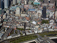 aerial photograph of Ville-Marie, Montreal historic district, Quebec, Canada