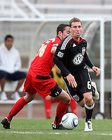 Kurt Mosink (6) of D.C. United moves away from Paul Torres (6)  during a scrimmage against the University of Maryland at Ludwig Field, University of Maryland, College Park, on April  10 2011. D.C. United won 1-0.
