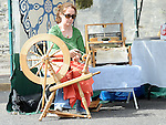 Aine Dunne spinning wool at the open day at Millmount Square. Photo: Colin Bell/pressphotos.ie