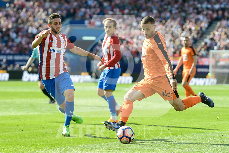 Atletico de Madrid's Koke Resurrección and SD Eibar's Pedro Leon Sanchez during Liga Liga match between Atletico de Madrid and SD Eibar at Vicente Calderon Stadium in Madrid, May 06, 2017. Spain.<br /> (ALTERPHOTOS/BorjaB.Hojas)