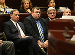 Nevada Treasurer Dan Schwartz, left, his chief of staff Grant Hewitt, and Controller Ron Knecht listen as Republican Rep. Joe Heck speaks to a joint session at the Legislative Building in Carson City, Nev., on Monday, March 30, 2015. <br /> Photo by Cathleen Allison