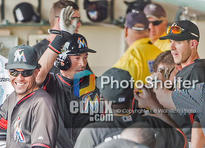 19 March 2015: Miami Marlins outfielder Ichiro Suzuki in the dugout after scoring during Spring Training action against the Atlanta Braves at Champion Stadium in the ESPN Wide World of Sports Complex in Kissimmee, Florida. The Braves defeated the Marlins 6-3 in Grapefruit League play. Mandatory Credit: Ed Wolfstein Photo *** RAW (NEF) Image File Available ***