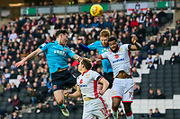 Fleetwood Town's Cian Bolger competing with Milton Keynes Dons' Ethan Ebanks-Landell in front of goal<br /> <br /> Photographer Andrew Kearns/CameraSport<br /> <br /> The EFL Sky Bet League One - Milton Keynes Dons v Fleetwood Town - Saturday 11th November 2017 - Stadium MK - Milton Keynes<br /> <br /> World Copyright &copy; 2017 CameraSport. All rights reserved. 43 Linden Ave. Countesthorpe. Leicester. England. LE8 5PG - Tel: +44 (0) 116 277 4147 - admin@camerasport.com - www.camerasport.com