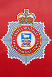 Close up on vehicle of coat of arms sign for Fire and Rescue Service, Falkland Islands