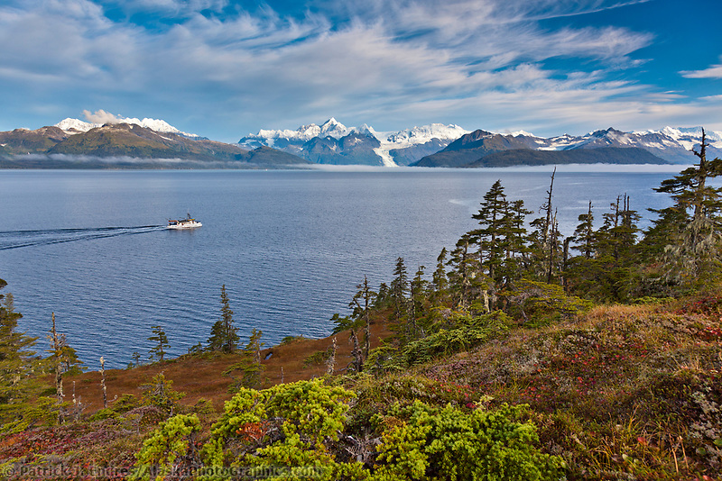 M/V Discovery in Port Wells, Chugach mountains in the distance, southcentral, Prince William Sound, Alaska.