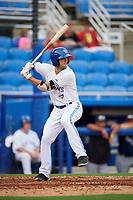 Dunedin Blue Jays second baseman Kevin Smith (4) at bat during a game against the Lakeland Flying Tigers on July 31, 2018 at Dunedin Stadium in Dunedin, Florida.  Dunedin defeated Lakeland 8-0.  (Mike Janes/Four Seam Images)