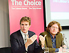 Tristram Hunt MP, Labour's Shadow Secretary of State for Education delivers a speech as part of Labour's summer campaign on The Choice facing the country between Labour and the Conservatives on education at Microsoft, London, Great Britain  18th August 2014. Pictured with John Blake Labour Teachers editor.<br />