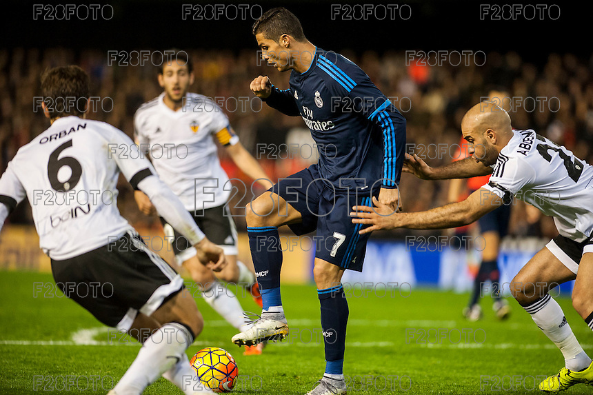 VALENCIA, SPAIN - JANUARY 3: Ronaldo during BBVA LEAGUE match between Valencia C.F. and Real Madrid at Mestalla Stadium on January 3, 2015 in Valencia, Spain
