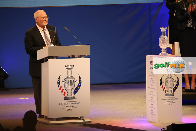 Mr John Solheim gives his address during the Opening Ceremony of The Solheim Cup 2015 played at Golf Club St. Leon-Rot, Mannheim, Germany.  17/09/2015. Picture: Golffile | David Lloyd<br /> <br /> All photos usage must carry mandatory copyright credit (&copy; Golffile | David Lloyd)