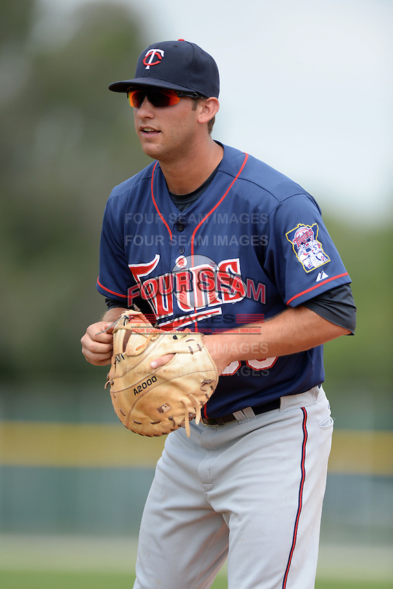 Minnesota Twins infielder Bryan Haar (36) during practice before a minor league spring training game against the Baltimore Orioles on March 20, 2014 at the Buck O'Neil Complex in Sarasota, Florida.  (Mike Janes/Four Seam Images)