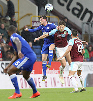 Leicester City's Ben Chilwell vies for possession with Burnley's James Tarkowski<br /> <br /> Photographer Rich Linley/CameraSport<br /> <br /> The Premier League - Burnley v Leicester City - Saturday 16th March 2019 - Turf Moor - Burnley<br /> <br /> World Copyright © 2019 CameraSport. All rights reserved. 43 Linden Ave. Countesthorpe. Leicester. England. LE8 5PG - Tel: +44 (0) 116 277 4147 - admin@camerasport.com - www.camerasport.com
