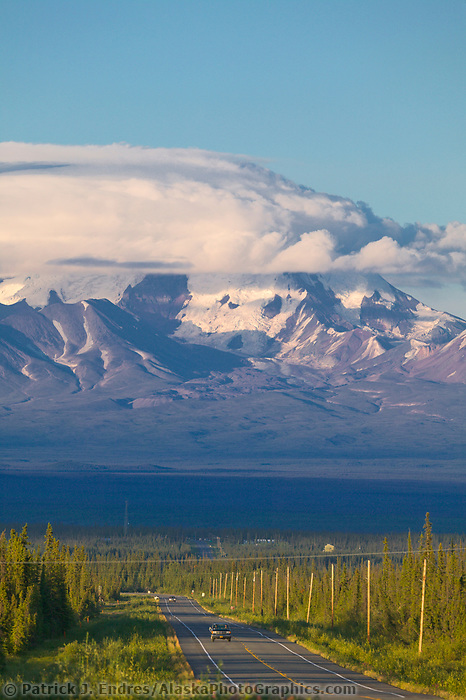 View of mount Sanford of the Wrangell St. Elias range from the Glenn Highway, just outside Glennallen. Alaska