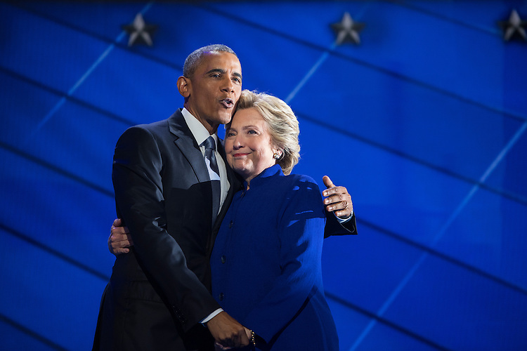 UNITED STATES - JULY 27: President Barrack Obama and Democratic nominee Hillary Clinton meet on stage of the Wells Fargo Center in Philadelphia, Pa., on the third day of the Democratic National Convention, July 27, 2016. (Photo By Tom Williams/CQ Roll Call)