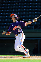 Infielder Eli White (4) of the Clemson Tigers in a fall Orange & Purple intrasquad scrimmage on November 2, 2013, at Fluor Field at the West End in Greenville, South Carolina. Orange won 7-1.(Tom Priddy/Four Seam Images)