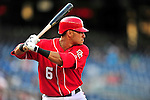 22 April 2010: Washington Nationals' shortstop Ian Desmond in action against the Colorado Rockies at Nationals Park in Washington, DC. The Rockies shut out the Nationals 2-0 gaining a 2-2 series split. Mandatory Credit: Ed Wolfstein Photo