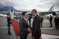 Pictured: Greek Prime Minister Alexis Tsipras greets US President Barack Obama to Air Force One at Eleftherios Venizelos Airport in Athens, Greece. Wednesday 16 November 2016<br /> Re: US President Barack Obama state visit to Greece