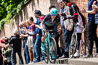 Picture by Alex Whitehead/SWpix.com - 14/05/2017 - Cycling - 2017 HSBC UK | National Women's Road Series - Lincoln Grand Prix - Drops' Rebecca Durrell climbs the Michaelgate cobbles.