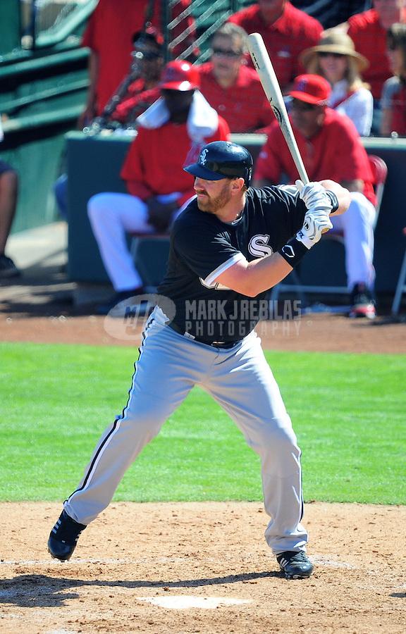 Mar. 6, 2012; Tempe, AZ, USA; Chicago White Sox first baseman Adam Dunn bats in the third inning against the Los Angeles Angels during a spring training game at Tempe Diablo Stadium.  Mandatory Credit: Mark J. Rebilas-