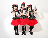 BABYMETAL -  L-R: Yuimetal (Yui Mizuno), Su-metal (Suzuka Nakamoto), Moametal (Moa Kikuchi) -   the band received the Relentless Kerrang! Award 2015 for the Spirit of Independence at the Kerrang! Awards 2015 in London UK - 11 June 2015.  Photo credit: Paul Harries/IconicPix  **NOT AVAILABLE FOR PUBLICATION IN U.K. MUSIC MAGAZINES - PLEASE CALL TO VERIFY**