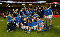 Italy's Woman celebrate at the final whistle beating Wales <br /> <br /> Photographer Ian Cook/CameraSport<br /> <br /> 2018 Women's Six Nations Championships Round 4 - Wales Women v Italy Women - Sunday 11th March 2018 - Principality Stadium - Cardiff<br /> <br /> World Copyright &copy; 2018 CameraSport. All rights reserved. 43 Linden Ave. Countesthorpe. Leicester. England. LE8 5PG - Tel: +44 (0) 116 277 4147 - admin@camerasport.com - www.camerasport.com