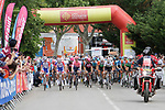 The start of Stage 1 of the Route d'Occitanie 2019, running 175.5km from Gignac-Vallée de l'Hérault to Saint-Geniez-d'Olt-et-d'Aubrac , France. 20th June 2019<br /> Picture: Colin Flockton | Cyclefile<br /> All photos usage must carry mandatory copyright credit (© Cyclefile | Colin Flockton)
