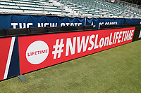 Cary, North Carolina  - Saturday June 03, 2017: Lifetime sign board prior to a regular season National Women's Soccer League (NWSL) match between the North Carolina Courage and the FC Kansas City at Sahlen's Stadium at WakeMed Soccer Park. The Courage won the game 2-0.