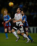 Billy Sharp of Sheffield Utd tussles with Jamie Ness of Scunthorpe Utd - English League One - Scunthorpe Utd vs Sheffield Utd - Glandford Park Stadium - Scunthorpe - England - 19th December 2015 - Pic Simon Bellis/Sportimage
