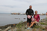 """1st Place Mens Mark Watters and 1st Place Ladies Trudy Brown at the Clogherhead """"Round the Head Swim"""".....(Photo credit should read Jenny Matthews/NEWSFILE)..."""