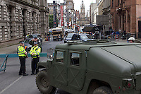 Glasgow, Scotland - The set of World War Z in and around George Square..Picture: Maurice McDonald/Universal News And Sport (Scotland). 25 August 2011. www.unpixs.com..