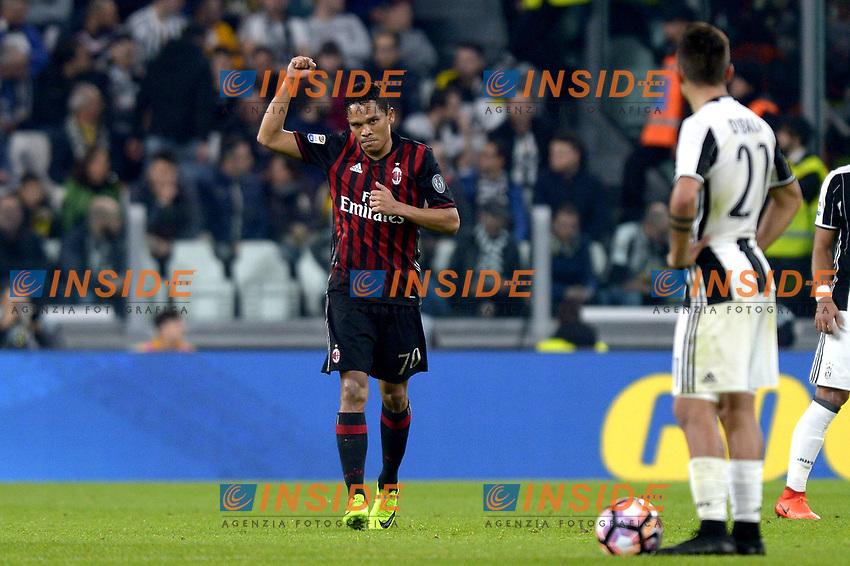 Esultanza Carlos Bacca Milan dopo gol 1-1, goal celebration <br /> Torino 10-03-2017, Juventus Stadium, Football Calcio 2016/2017 Serie A, Juventus - Milan, Foto Filippo Alfero/Insidefoto