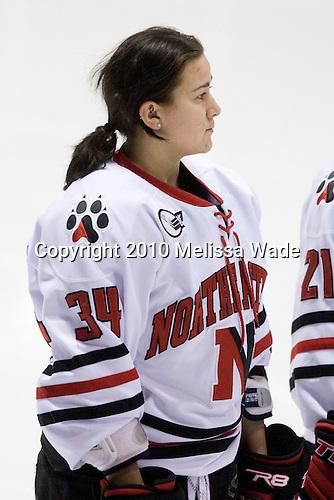 Kristi Kehoe (NU - 34) - The University of Connecticut Huskies defeated the Northeastern University Huskies 4-1 in Hockey East quarterfinal play on Saturday, February 27, 2010, at Matthews Arena in Boston, Massachusetts.