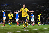 Sokratis Papastathopoulos of Arsenal scores the first goal and celebrates during Portsmouth vs Arsenal, Emirates FA Cup Football at Fratton Park on 2nd March 2020