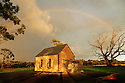 Old church and rainbow