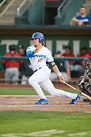 Niko Hulsizer (12) of the Ogden Raptors bats against the Great Falls Voyagers at Lindquist Field on August 22, 2018 in Ogden, Utah. Great Falls defeated Ogden 3-1. (Stephen Smith/Four Seam Images)