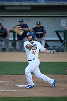 Joey Curletta (44) of the Rancho Cucamonga Quakes bats against the Stockton Ports at LoanMart Field on July 3, 2016 in Rancho Cucamonga, California. Rancho Cucamonga defeated Stockton, 2-1. (Larry Goren/Four Seam Images)