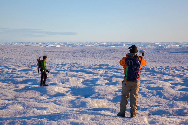Hiking across Humboldt Glacier - GPS Transect with scientists Jason Box and Alun Hubbard, August 2009, during Greenpeace expedition Arctic Impacts to assess effect of climate change on Greenland's glaciers. Humboldt glacier is the widest glacier in the northern hemisphere at 110km wide