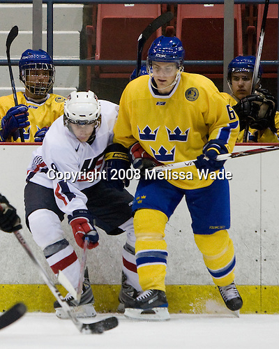 Philip McRae (US White - 18), Nichlas Torp (Sweden 6) (Josefson, Backlund) - Team Sweden defeated Team USA White 7-3 on Friday, August 8, 2008, in the 1980 Rink during the 2008 US National Junior Evaluation Camp and Summer Hockey Challenge in Lake Placid, New York.