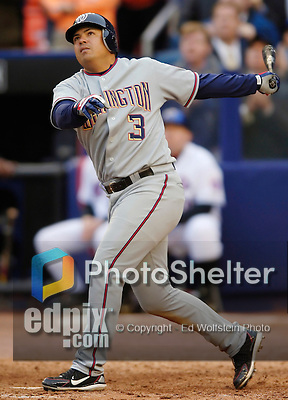 3 April 2006: Jose Vidro, second baseman for the Washington Nationals, at bat during Opening Day play against the New York Mets at Shea Stadium, in Flushing, New York. The Mets defeated the Nationals 3-2 to lead off the 2006 MLB season...Mandatory Photo Credit: Ed Wolfstein Photo..